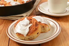 Cinnamon roll with frosting Royalty Free Stock Photo