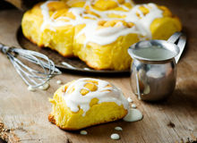 Cinnamon roll with pumpkin and glaze Stock Images