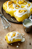 Cinnamon roll with pumpkin and glaze Stock Image