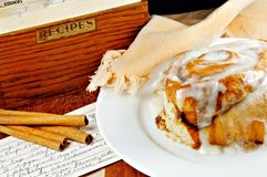 Cinnamon Roll with Recipe Stock Photo