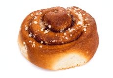 Cinnamon roll on white background. Selective focus. Isolated Stock Image