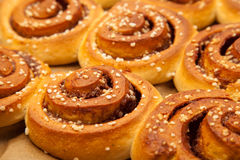 Cinnamon roll Zimtschnecken Kanelbullar stock photos