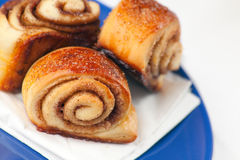 Cinnamon Rolls. Small spiral twisted buns stuffed with a buttery cinnamon and brown sugar cream. Shallow depth of field on the first roll Stock Image