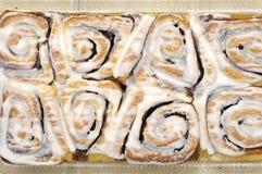 Cinnamon rolls. Sweet cinnamon rolls with frosting Stock Photos