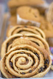 Cinnamon rolls in a bakery on display Stock Image