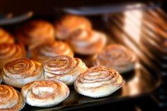 Cinnamon rolls baking Royalty Free Stock Photo