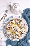 Cinnamon rolls cake for a breakfast,vintage stile.Top view. Royalty Free Stock Image
