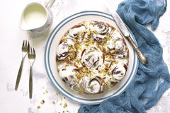 Cinnamon rolls cake for a breakfast,vintage stile.Top view. Stock Photo