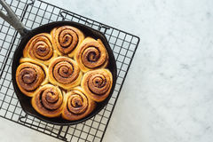 Cinnamon Rolls in Cast Iron Skillet Stock Images