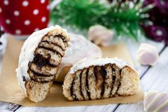 Cinnamon rolls and chocolate. With cream cheese Royalty Free Stock Photography