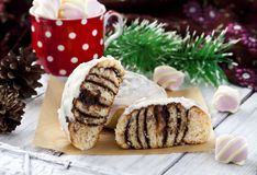 Cinnamon rolls and chocolate. With cream cheese Stock Image
