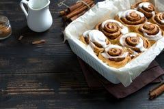 Cinnamon rolls, cinnabons royalty free stock photos