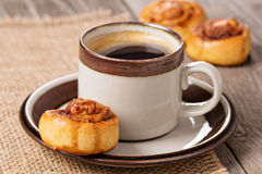 Cinnamon rolls with coffee Stock Image