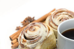 Cinnamon rolls and coffee isolated Stock Photography