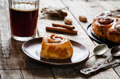 Cinnamon rolls with cream icing Royalty Free Stock Photo