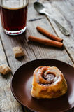 Cinnamon rolls with cream icing Royalty Free Stock Photos