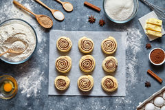 Cinnamon rolls dough preparation sweet traditional dessert buns pastry food Royalty Free Stock Images