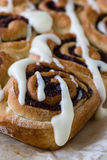 Cinnamon rolls with icing Stock Photo