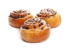 Cinnamon rolls isolated on white background royalty free stock photo