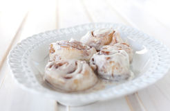 Cinnamon rolls on plate Stock Image