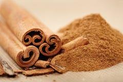 Cinnamon rolls and powder stock photo