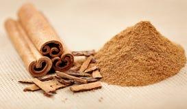 Cinnamon rolls and powder Stock Photos