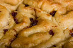 Cinnamon rolls with raisins close up Royalty Free Stock Photos