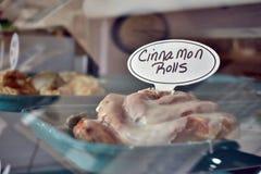 Cinnamon rolls. Restaurant breakfast display Stock Images