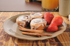 Cinnamon Rolls with strawberries Stock Image