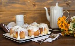 Cinnamon rolls  traditional dessert buns stock photography