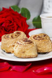 Cinnamon rolls on white plate Royalty Free Stock Image