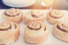 Cinnamon rolls on white plate. Royalty Free Stock Photos
