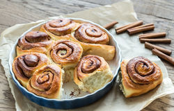 Cinnamon rolls on the wooden background Stock Photography
