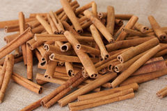 Cinnamon on a sacking Royalty Free Stock Photography