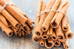 Cinnamon. Small bunches of cinnamon / cassia - important spice for cooking and baking Stock Photo