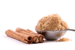 Cinnamon Spice Sticks. With Scoop of Brown Sugar Royalty Free Stock Photography