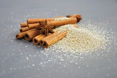 Cinnamon and Star Anis Spices Stock Images