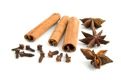 Cinnamon and star anise. Isolated on white background Royalty Free Stock Photography