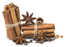 Cinnamon with star anise and clove Royalty Free Stock Photos