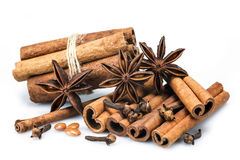Cinnamon with star anise and clove Royalty Free Stock Photography