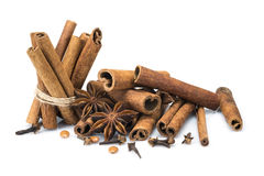 Cinnamon with star anise and clove Royalty Free Stock Photo