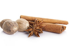Cinnamon, star anise and nutmeg apple Royalty Free Stock Photos