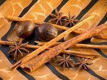 Cinnamon, star anise and nutmeg Stock Photos
