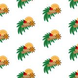 Cinnamon, star anise, orange, branches of fir and holly berries. Seamless pattern. Cinnamon, star anise, orange, branches of fir and holly berries. Seamless Stock Photography