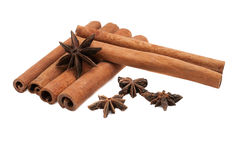 Cinnamon  and star anise in the tree image isolated on white bac Stock Images