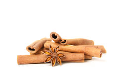 Cinnamon and star anise, on white. Background stock photo