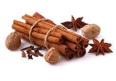 Cinnamon and star anise Stock Images