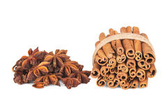 Cinnamon and star anise on white. Background Royalty Free Stock Image