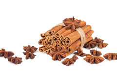 Cinnamon and star anise on white background. Cinnamon and star anise on white Stock Image