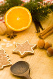 Cinnamon star cookie and spices Stock Photography